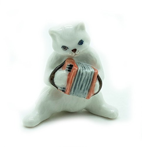 Grandroomchic Animal Miniature Handmade Porcelain Statue White Cat Playing Accordion Musical Figurine Collectibles Gift