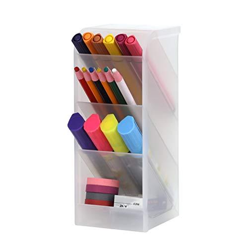 Organizador de escritorio para lápices, organizador de plástico, soporte para bolígrafos, portalápices, organizador de escritorio, elemento de clasificación para oficina, escuela o casa, 1 unidad