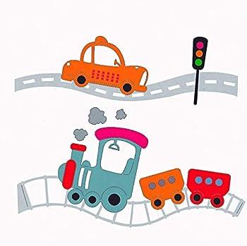 Car Train Railway Set Metal Cutting Dies for Scrapbooking and Card Making Kids Birthday Christmas Craft Die Cuts