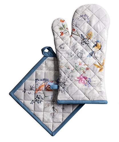 Maison d#039 Hermine Equinoxe 100% Cotton Grey Set of Oven mitt 75 Inch by 13 Inch and Pot Holder 8 Inch by 8 Inch