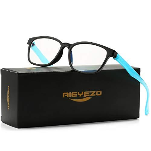 Kids Blue Light Blocking Glasses Silicone Flexible Square Eyeglasses Frame with Glasses Rope, for Children Age 3-10 (Black/Blue)