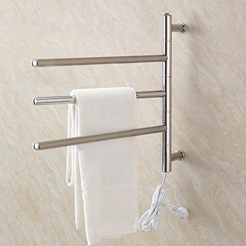 HDLWIS Elektrisch beheizter Handtuchhalter, elektrischer Handtuchwärmer zur Wandmontage, um 180 ° drehbarer elektrischer Handtuchhalter aus Edelstahl, kostenloses zusätzliches Badetuch