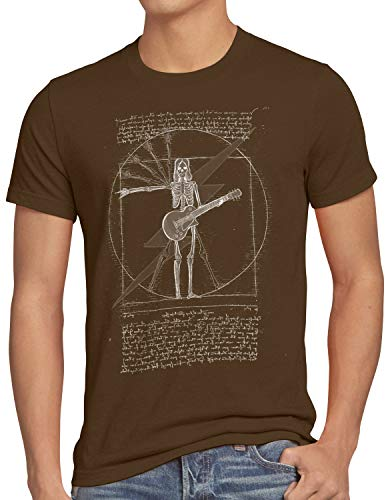 style3 Vitruvianischer Rockstar Herren T-Shirt e-Gitarre Rock Punk Metal Festival Konzert Elektro, Größe:XXXL, Farbe:Braun