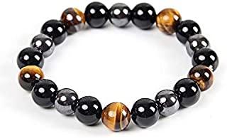 Triple Protection Bracelet - For Protection - Bring Luck And Prosperity - Hematite - Black Obsidian - Tiger Eye - Stone Bracelets