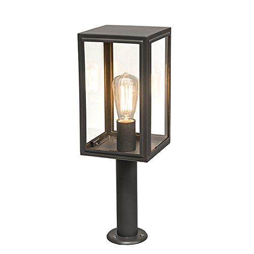 QAZQA Landelijk Buitenlamp paal grijs 50 cm IP44 - Sutton Glas/Roestvrij staal (RVS) Kubus/Vierkant Geschikt voor LED Max. 1 x 100 Watt