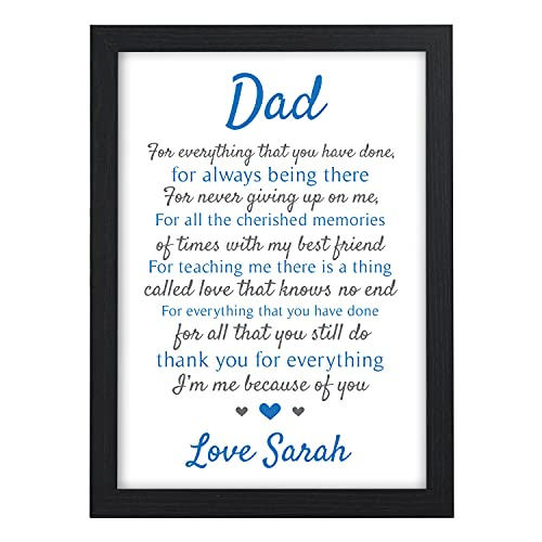 PERSONALISED Dad, Daddy, Grandad POEM Gifts for Birthday, Fathers Day,...