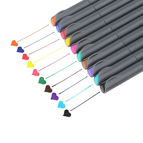 Fineliner Color Pen Set, Taotree 0.38mm Colored Sketch Drawing Pen, Porous Fine Point Markers for Bullet Journaling and Note Taking, 10 Assorted Colors