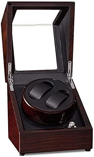 PLMOKN Reloj de relojero con batería Automático 2 Relojes, Wooden Silent Watchwinders Mostrar Caja de Almacenamiento Caja de Almacenamiento Rojo y Negro (Color : Red, Size : Small)