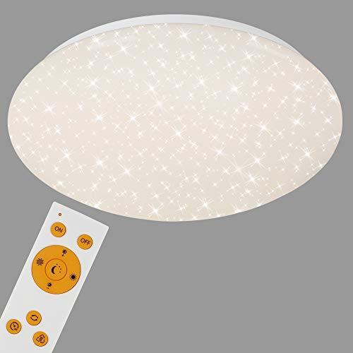 Briloner Leuchten Lampe de plafond LED blanc étoilé avec télécommande pour régler la température de la couleur – Dimmable, 15W – Diamètre 29,3 cm