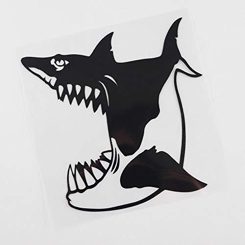 ZQZL 14,2 CM X 14,2 CM Pegatina de Coche de tiburón con calcomanía de Vinilo de Boca Abierta