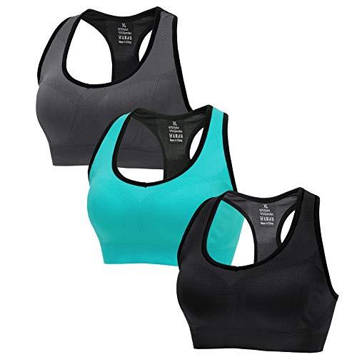 CLUCI Sport BH Damen Nahtlos Starker Halt Große Brüste Push Up Ohne Bügel Gym Yoga Active Sport Running 3er Pack Sport BH Set (Grau Schwarz Blau) XXL