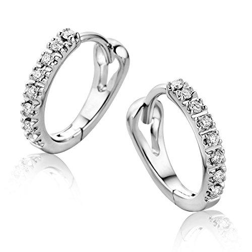 Orovi Pendientes Señora aros en Oro Blanco con Diamantes Talla Brillante 0.10 ct Oro 9 Kt / 375