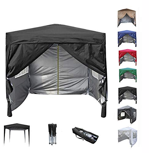 mcc direct Premier 2x2m Waterproof Pop-up Gazebo with Silver Protective Layer Marquee Canopy (WS) (Black)