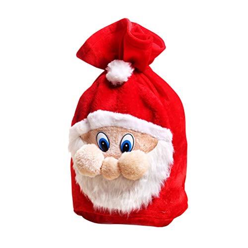 bestoyard bolsas de regalo de Pap Noel de cordn de peluche de Navidad bolsa de caramelos bolsas de regalo de regalo adicional de disfraz de Pap Noel