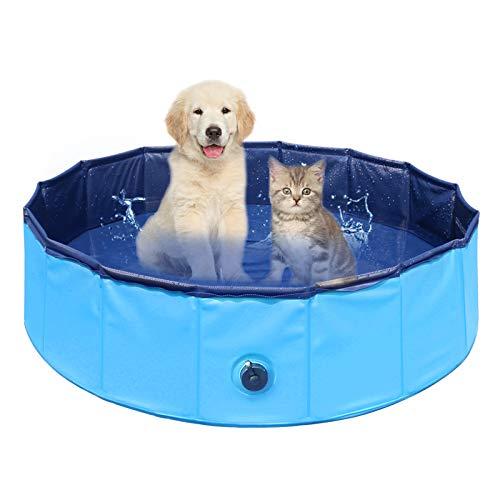 Delicacy Hundepool Schwimmbad für Hunde Doggy Pool Swimmingpool Faltbares Pool Für Kinder Hunde und Katzen Planschbecken Hundepool PVC rutschfest Hundebadewanne 80x30cm, Blau