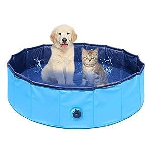 Delicacy Piscina para Perros, Bañera Mascotas para Piscina, Plegable Bañera Mascotas para Piscina con PVC Antideslizante para Perros/Gatos/Niños para Interiores/Exteriores 80x30cm Azul