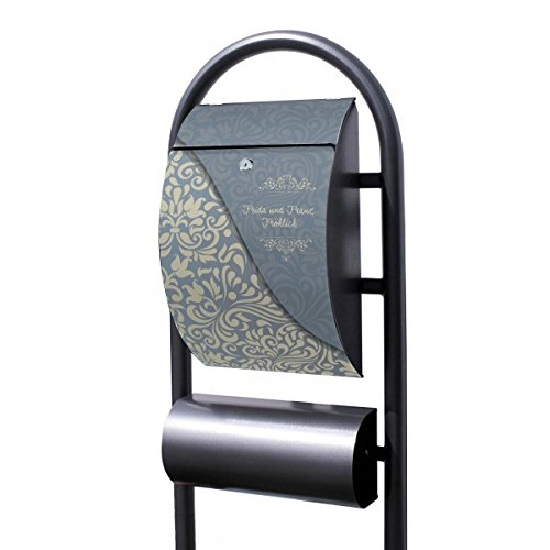 Banjado Briefkasten Hammerschlag-Optik mit Ständer | Postkasten freistehend 150x44x14cm | Standbriefkasten mit Zeitungsfach Motiv WT Blaues Ornament