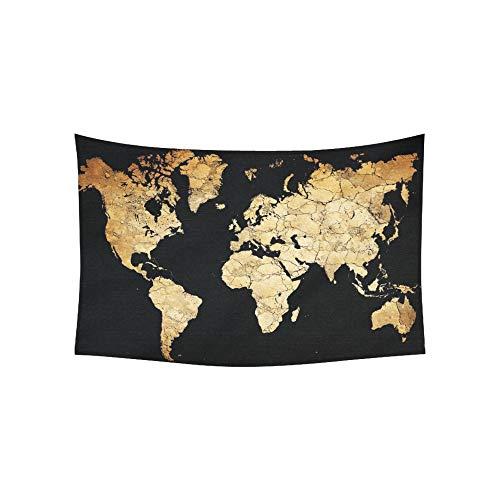 Tapiz Mapa Continentes del mundo Tapices de suelo seco y desierto Tapiz de pared Flor Tapiz psicodélico Colgante de pared Dormitorio indio Decoración para sala de estar Dormitorio 60 X 40 pulgadas