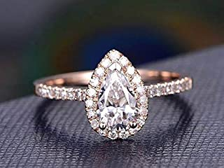 Classic Pear cut Halo 1.50 Ct Moissanite & Diamond Engagement Ring with 18k Gold Plating