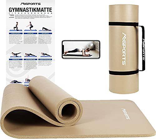 MSPORTS Premium gymnastikmatta inklusive bärrem, träningsposter, träningsapp I Hudvänlig...