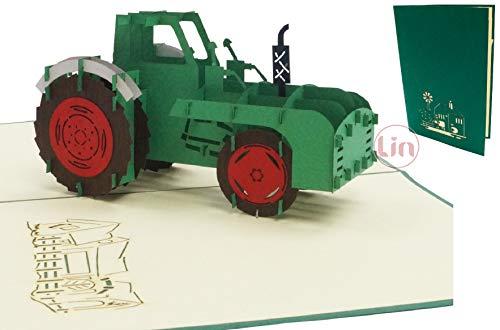 LIN17571, pop-up kaart tractor trekker, pop-up kaarten verjaardag, pop-up verjaardagskaart, wenskaarten verjaardagsuitnodiging boerderij, tractorkaart, 3D kaart tractor, kinderverjaardag, N320