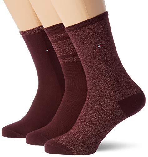 Tommy Hilfiger Womens TH 3P GIFTBOX Lurex Socks, Winetasting, 39/42 (3er Pack)