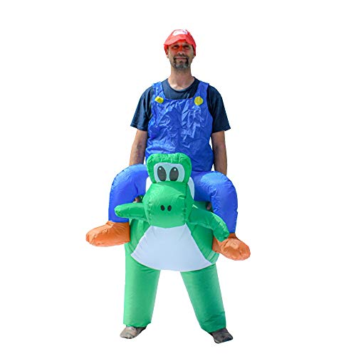 ALEKO ICP03 Halloween Inflatable Party Costume - Mario Riding Yoshi - Adult Sized