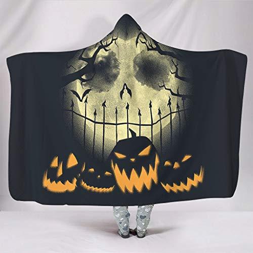 DOGCATPIG Manta con capucha de microfibra de gran tamaño con capucha Jack calabaza Pesadilla antes de Navidad Halloween Auténtica manta unisex con capucha para adultos blanco 50x60 pulgadas