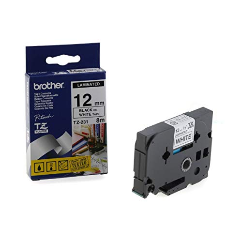 Brother TZE-231 Nastro Laminato, 12 mm, Nero/Bianco
