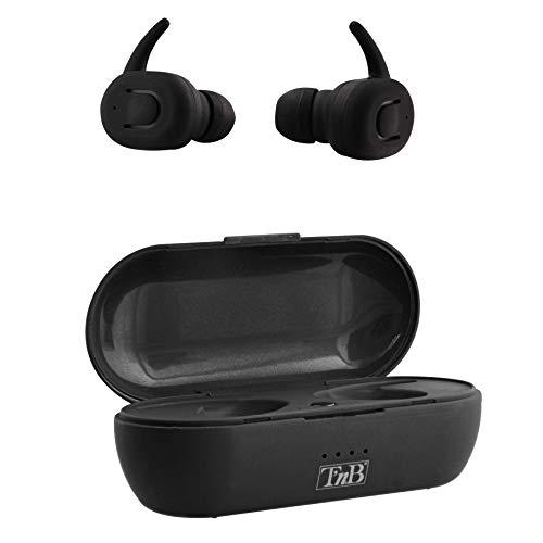 Auriculares inalámbricos Bluetooth 5.0 con Caja de Carga, Color Negro