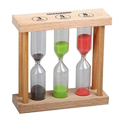 FACKELMANN 49096Sanduhr, Holz, braun, 3,5,8 Minuten