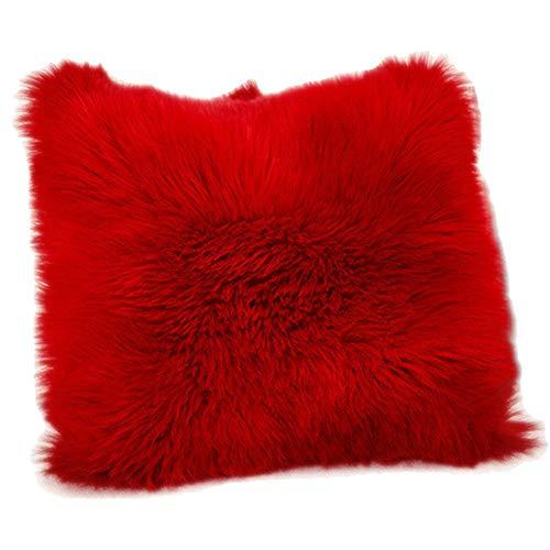 Funda de Cojín, Faux Fur Throw Deluxe Home Decorativo Cuadrados y Suaves Cojines PeloPara la Hogar Sofá Cama del Coche,Rojo,40 * 40CM Both Sides