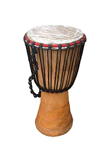 Genuine African Djembe Drum - 9' head (23cm head, 52cm height) with free...
