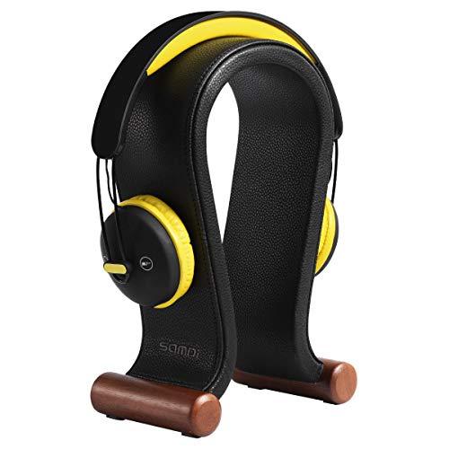 SAMDI Original Universal Kopfhörerständer Echtes Leder Kopfhörerhalterung Kopfhörerstand Gaming Headset Halterung - Schwarz