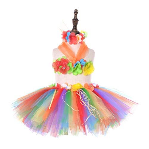 Amosfun Disfraz Hawaiana niña Tutu Falda Hula para niñas cumpleaños Fiesta en la Playa (Arco Iris)