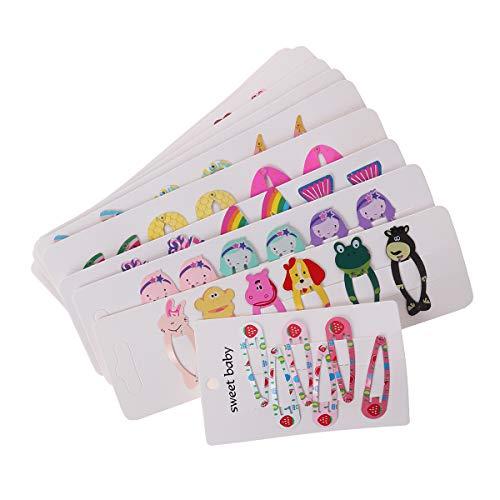 60pcs Colorful Snap Hair Clips Cartoon Patterns Barrettes Cute Animals Hairpins Headwear Hair Accessories for Girls Kids (Random Style)
