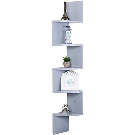Estantería esquinera de pared para libros y objetos, hecha de tablero de fibra de densidad media (DM), color gris, 20 x 20 x 123 cm, repisas murales ...