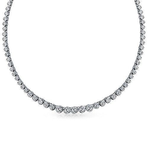 Braut Zirkonia Runde Blase Lünette Statement AAA CZ Tennis Collier Halskette Für Damen Für Abschlussball Messing