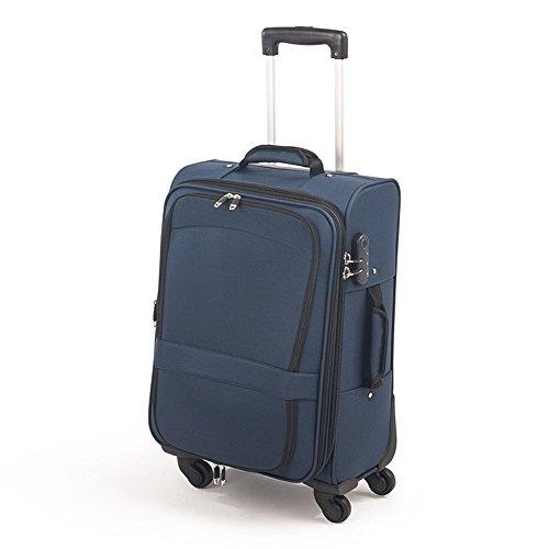 """Maleta de tela de cabina de 20"""" con 4 ruedas y candado - 55cm (Azul y rojo)"""