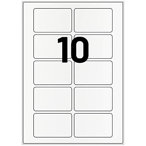 Labelident Acetatseide Etiketten weiß - 80 x 50 mm - 1000 selbstklebende Textiletiketten auf 100 Blatt DIN A4 Bogen, seidenmatt, Textil Namensetiketten wieder ablösbar