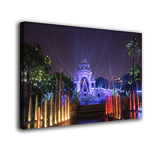 Desconocido Cuadro Lienzo Canvas Parque de la Ciutadella Noche Iluminado Barcelona – Varias Medidas - Lienzo de Tela Bastidor Madera de 3 cm - Impresion Alta resolucion (80, 53)