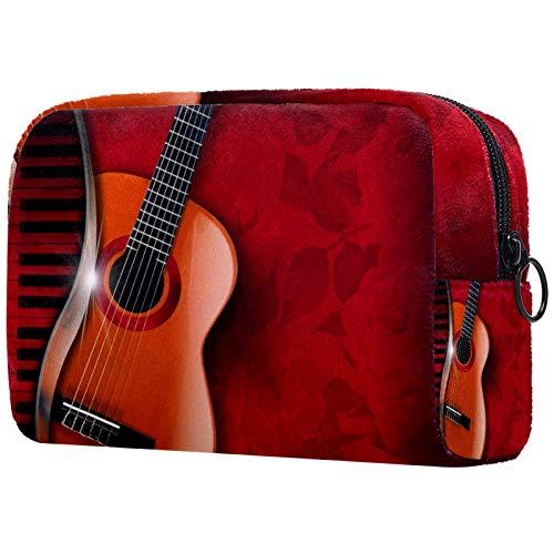 Makeup Bag Organizer Kleine Cosmetic Bags for Women Travel Kulturbeutel Makeup Case Geldbörse Handtasche Akustische Gitarre und Klavier Rote Blumen