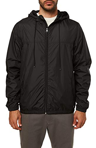 O'NEILL Men's Light Weight Rain Windbreaker Jacket, Black/del ray, XXL