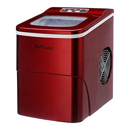MVPOWER Machine à Glaçons, Machine a Glace Acier Inoxydable Faible bruit avec Réservoir 2L, 2 Tailles de Glace,9 Glaçons par...
