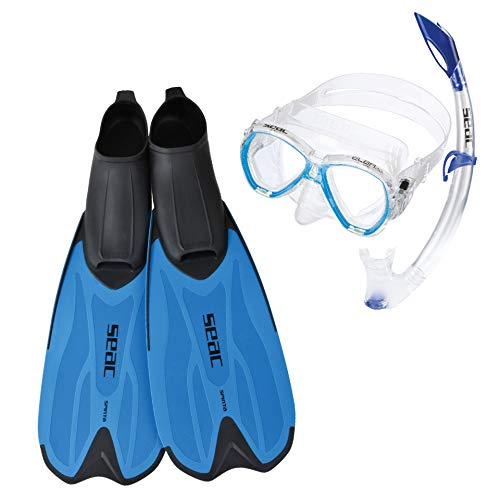 SEAC Set Spinta Conjunto de Snorkeling con máscara de Buceo, Snorkel y Aletas, niños, Adultos Unisex, Azul, 38/39