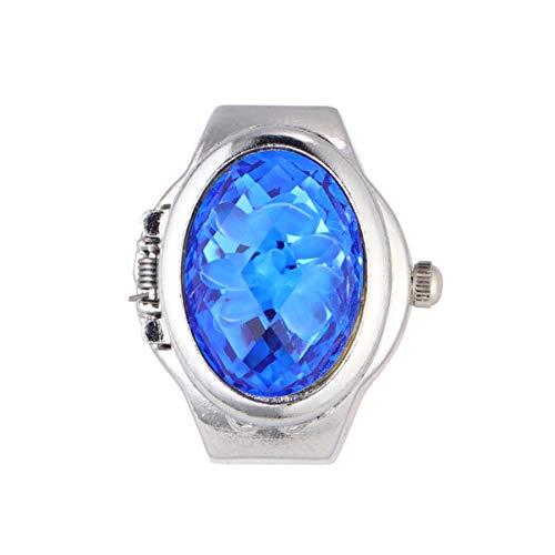 NICERIO Hombres Mujeres Dedo Reloj de Cuarzo Anillo de Dedo Reloj Ovalado Pétalo Flip Dedo Anillo Reloj Moda Reloj Analógico Anillo