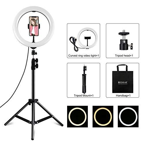 Fengyuechen Live lights, 1.1m Tripod Mount + 10 inch 26cm LED Ring Vlogging Video Light Live Broadcast Kits, for YouTube Video and Makeup (Color : Color2)