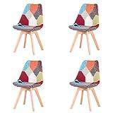 GrandCA Home Conjunto de 4 sillas, Silla de Comedor, Silla de tulipán de Estilo nórdico, Adecuada para Sala de Estar, Comedor (Rojo Patchwork)