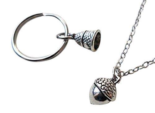 Acorn Necklace & Thimble Keychain Set - Peter Pan's Kiss; Couples Keychain Set