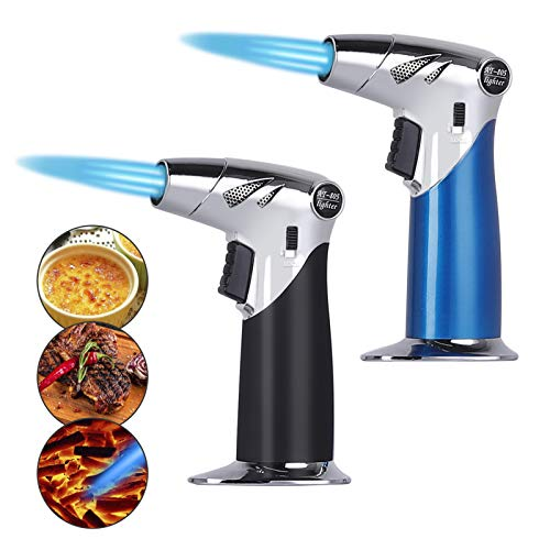 Food Torch, Refillable Butane Torch for Culinary 2PCS, Adjustable flame with Safety Lock for Desserts, Creme Brulee, BBQ and Baking Adjustable flame with Safety Lock(Butane Gas Not Included)